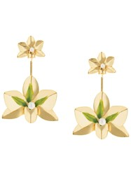 Mercedes Salazar Flower Drop Earrings Gold