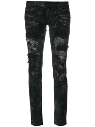 Faith Connexion Distressed Skinny Jeans Cotton Spandex Elastane Black