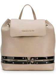Versace Jeans Star Stripe Backpack Nude And Neutrals