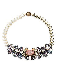 Tataborello Crystal Studded Butterfly Necklace Purple
