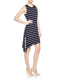 Red Haute Striped Asymmetric Dress Navy