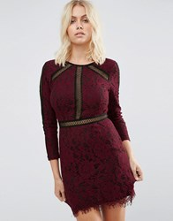 Goldie Saving Grace Floral Lace Dress With Trim Detailing Maroon Red