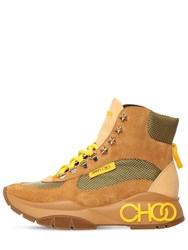 Jimmy Choo 50Mm Inca Nylon And Suede Hiking Boots Tan Yellow