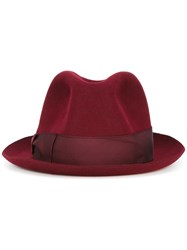 Borsalino Grosgrain Band Trilby Hat Red