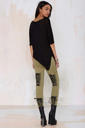 Nasty Gal Tie's The Limit Knit Leggings Olive