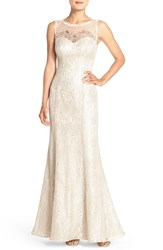 Xscape Evenings Women's Xscape Embellished Illusion Yoke And Lace Mermaid Gown