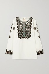Figue Iris Embroidered Cotton Voile Top White