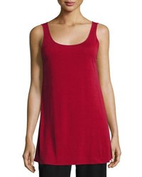Eileen Fisher Scoop Neck Silk Tunic Red Brick Red