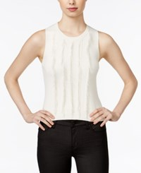 Armani Exchange Sleeveless Fringe Sweater Off White