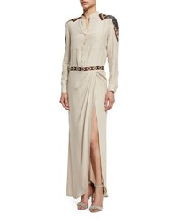 Haute Hippie Long Sleeve Button Front Embellished Silk Gown Buff