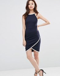 Wal G Dress With Wrap Skirt Navy