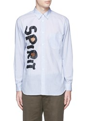 Comme Des Garcons 'Spirit' Cutout Print Stripe Shirt Blue