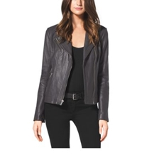 Michael Kors Leather Moto Jacket Grey