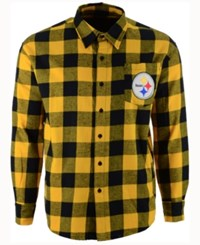 Forever Collectibles Men's Pittsburgh Steelers Large Check Flannel Button Down Shirt Black Yellow