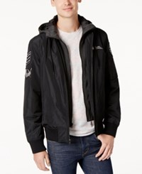 American Rag Men's Hooded Patched Bomber Jacket Created For Macy's Deep Black