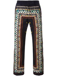 Sacai Tribal Lace Print Corduroy Trousers Blue