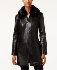 Anne Klein Faux Fur Collar Leather Walker Coat Black