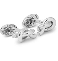 Mulberry Engraved Knotted Silver Plated Cufflinks Silver