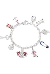 Fred Leighton 20Th Century 14 Karat White Gold Multi Stone Charm Bracelet