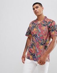 Pull And Bear Pullandbear Floral Shirt With Revere Collar In Pink