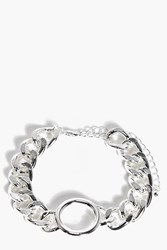 Boohoo Maisy Thick Chain Circle Link Bracelet Silver