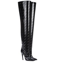 Balenciaga Knife Over The Knee Leather Boots Black