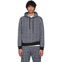 Mcq By Alexander Mcqueen Black And Blue Logo Big Hoodie