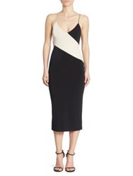 Alice Olivia Aurora Colorblock Cutout Dress Black Champagne