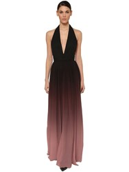 Elie Saab Long Degrade Halter Neck Dress Black