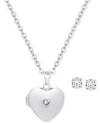 Macy's Children's Cubic Zirconia Locket Pendant Necklace And Stud Earrings In Sterling Silver