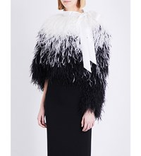 Givenchy Marabou Feather Cropped Jacket Blk Wht