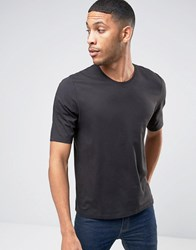 Sisley Crew Neck T Shirt With Back Raglan Detail Black 15F