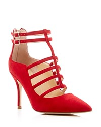 Ivanka Trump Domin Caged Pointed Toe Pumps Red