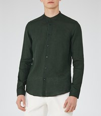 Reiss Novak Mens Linen Grandad Collar Shirt In Green