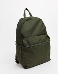 Puma Phase Backpack With Small Logo In Khaki Green