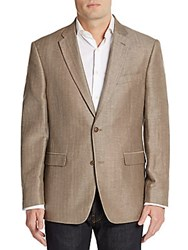Tommy Hilfiger Regular Fit Herringbone Linen And Wool Blend Sportcoat Dark Khaki