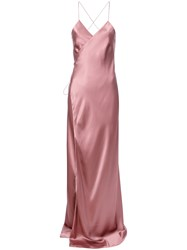Michelle Mason Strappy Wrap Gown Pink And Purple