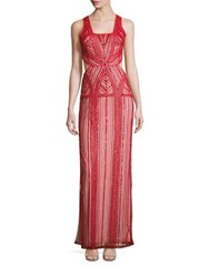 Parker Black Livy Embellished Cutout Gown Ruby Red