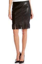 Women's Karen Kane Faux Leather Pencil Skirt With Fringe