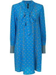 Marc Cain Pussy Bow Printed Dress Silk Blue