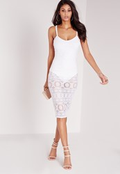 Missguided Sheer Lace Cami Midi Dress White White