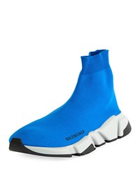 Balenciaga Speed Mid Top Trainer Sock Sneakers Blue