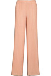 Emilio Pucci Plisse Crepe Wide Leg Pants Pastel Orange
