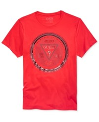 Guess Men's Currency Graphic Print Logo T Shirt Ruby Red