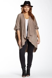 Sweet Romeo Seed Stitch Open Front Slouchy Cardigan Plus Size Beige