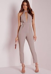 Missguided Petite Exclusive Neck Detail Jumpsuit Taupe