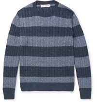 Brunello Cucinelli Striped Cable Knit Linen And Cotton Blend Sweater Blue