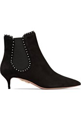Aquazzura Jicky Faux Pearl Embellished Suede Ankle Boots Black