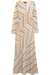 Missoni Paneled Metallic Crochet Knit Maxi Dress Peach