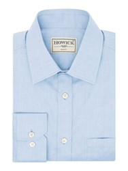 Howick Men's Tailored Charter Slim Fit Twill Shirt Sky Blue
